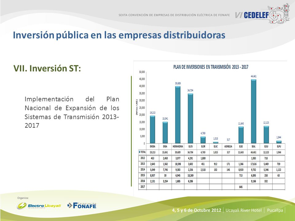 Inversión pública en las empresas distribuidoras VII.