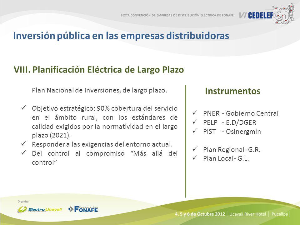 Inversión pública en las empresas distribuidoras VIII.