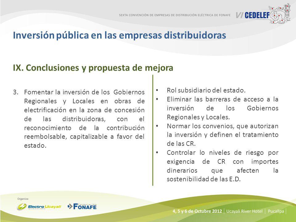 Inversión pública en las empresas distribuidoras 3.Fomentar la inversión de los Gobiernos Regionales y Locales en obras de electrificación en la zona de concesión de las distribuidoras, con el reconocimiento de la contribución reembolsable, capitalizable a favor del estado.