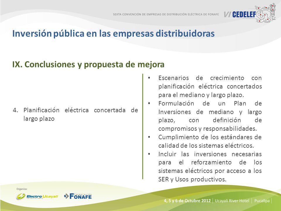 Inversión pública en las empresas distribuidoras 4.Planificación eléctrica concertada de largo plazo Escenarios de crecimiento con planificación eléctrica concertados para el mediano y largo plazo.