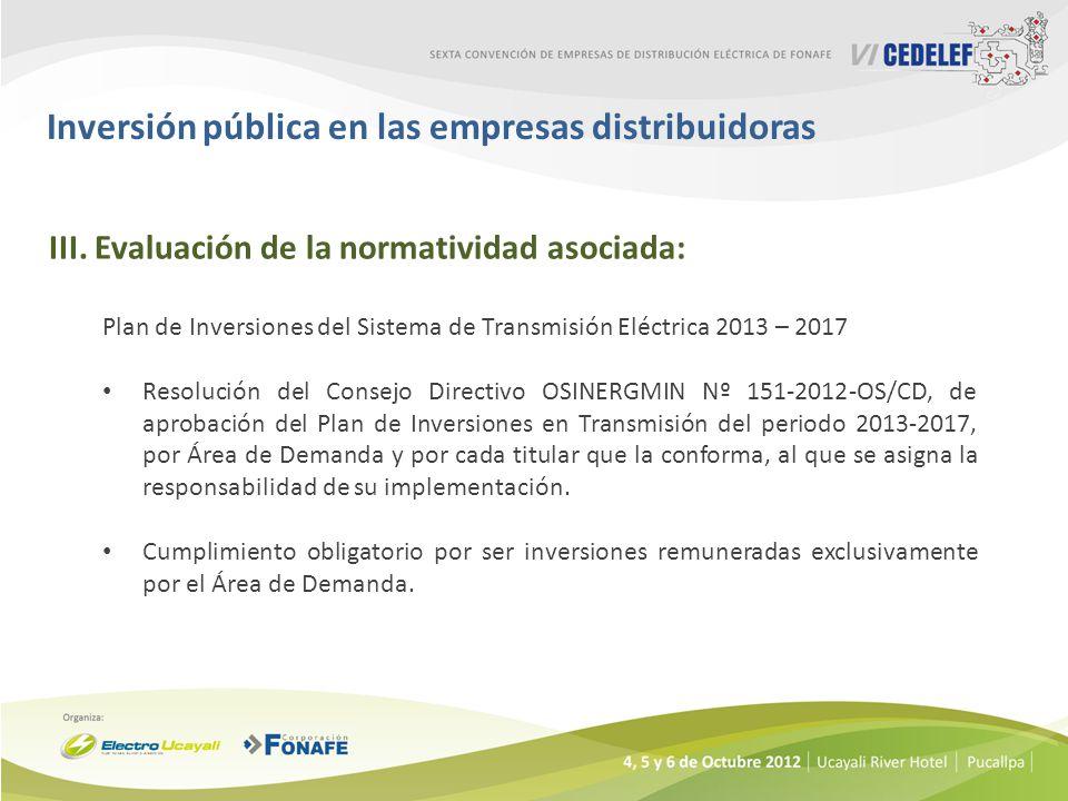 Inversión pública en las empresas distribuidoras III.