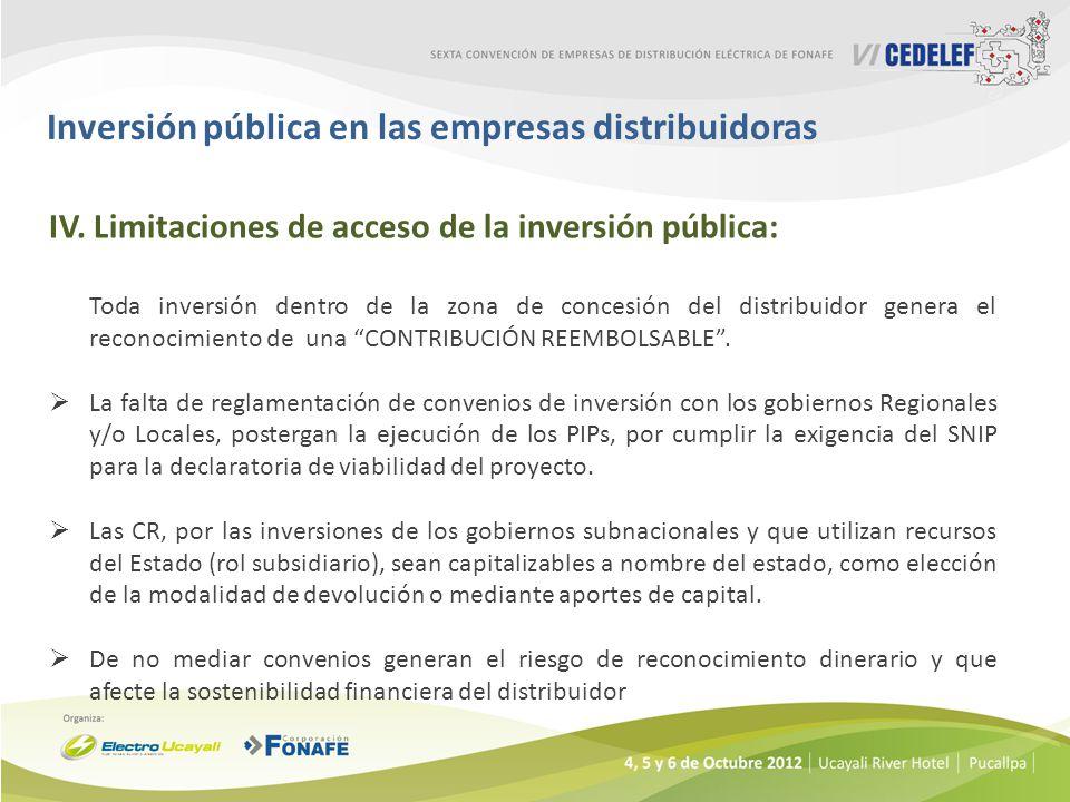 Inversión pública en las empresas distribuidoras IV.