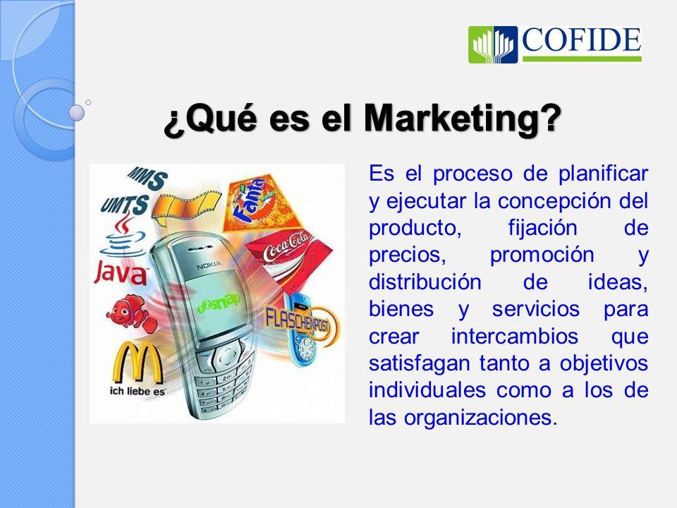 Es el proceso de planificar y ejecutar la concepción del producto, fijación de precios, promoción y distribución de ideas, bienes y servicios para cre