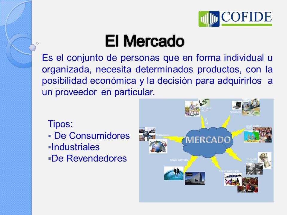 Es el conjunto de personas que en forma individual u organizada, necesita determinados productos, con la posibilidad económica y la decisión para adquirirlos a un proveedor en particular.