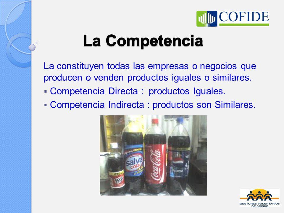 La constituyen todas las empresas o negocios que producen o venden productos iguales o similares. Competencia Directa : productos Iguales. Competencia