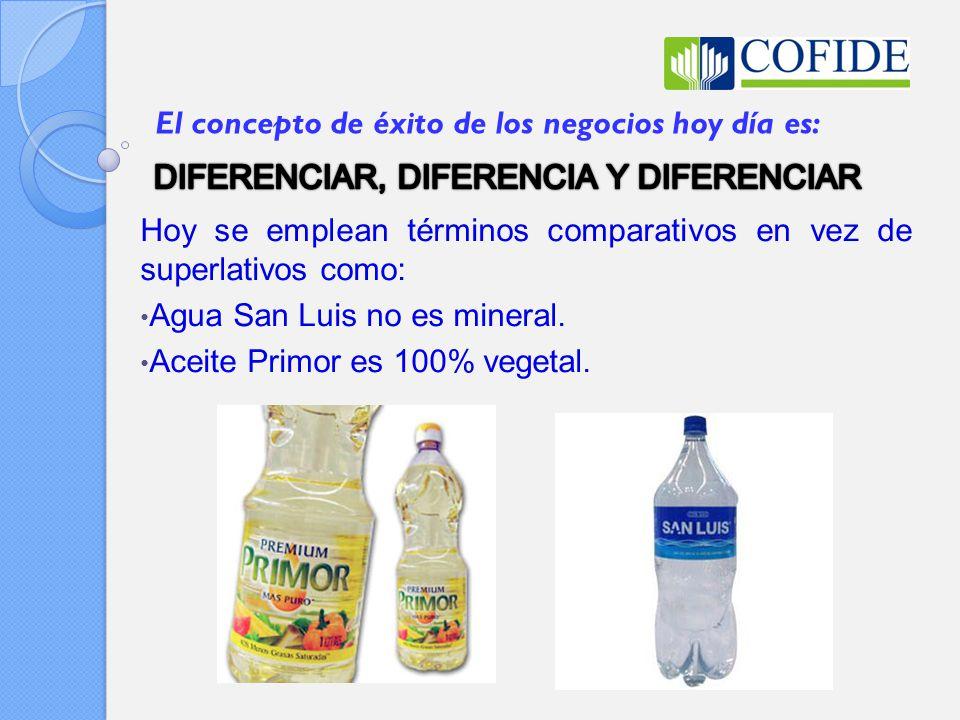 Hoy se emplean términos comparativos en vez de superlativos como: Agua San Luis no es mineral. Aceite Primor es 100% vegetal. El concepto de éxito de