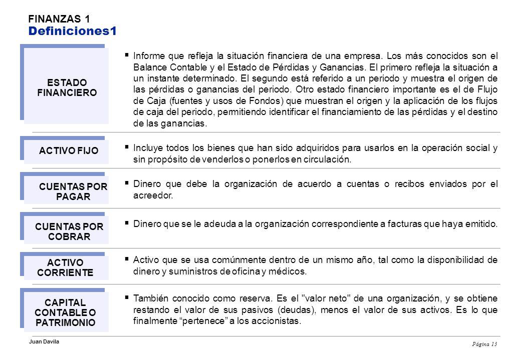 Página 13 Juan Davila FINANZAS 1 Definiciones1 Informe que refleja la situación financiera de una empresa.