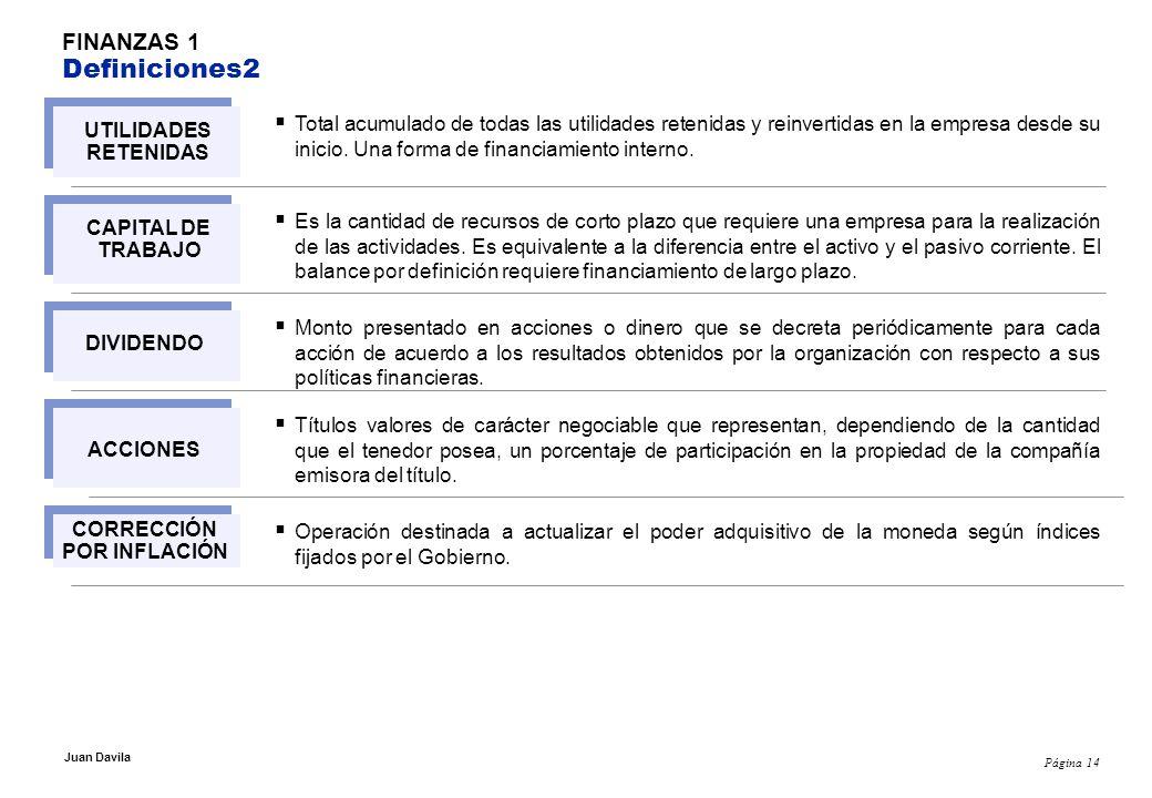 Página 14 Juan Davila FINANZAS 1 Definiciones2 Total acumulado de todas las utilidades retenidas y reinvertidas en la empresa desde su inicio.