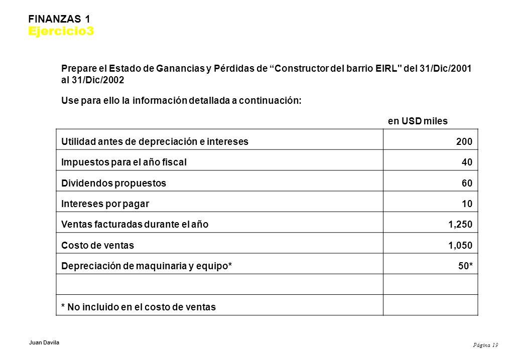 Página 19 Juan Davila FINANZAS 1 Ejercicio3 Prepare el Estado de Ganancias y Pérdidas de Constructor del barrio EIRL del 31/Dic/2001 al 31/Dic/2002 Use para ello la información detallada a continuación: en USD miles Utilidad antes de depreciación e intereses200 Impuestos para el año fiscal40 Dividendos propuestos60 Intereses por pagar10 Ventas facturadas durante el año1,250 Costo de ventas1,050 Depreciación de maquinaria y equipo*50* * No incluido en el costo de ventas