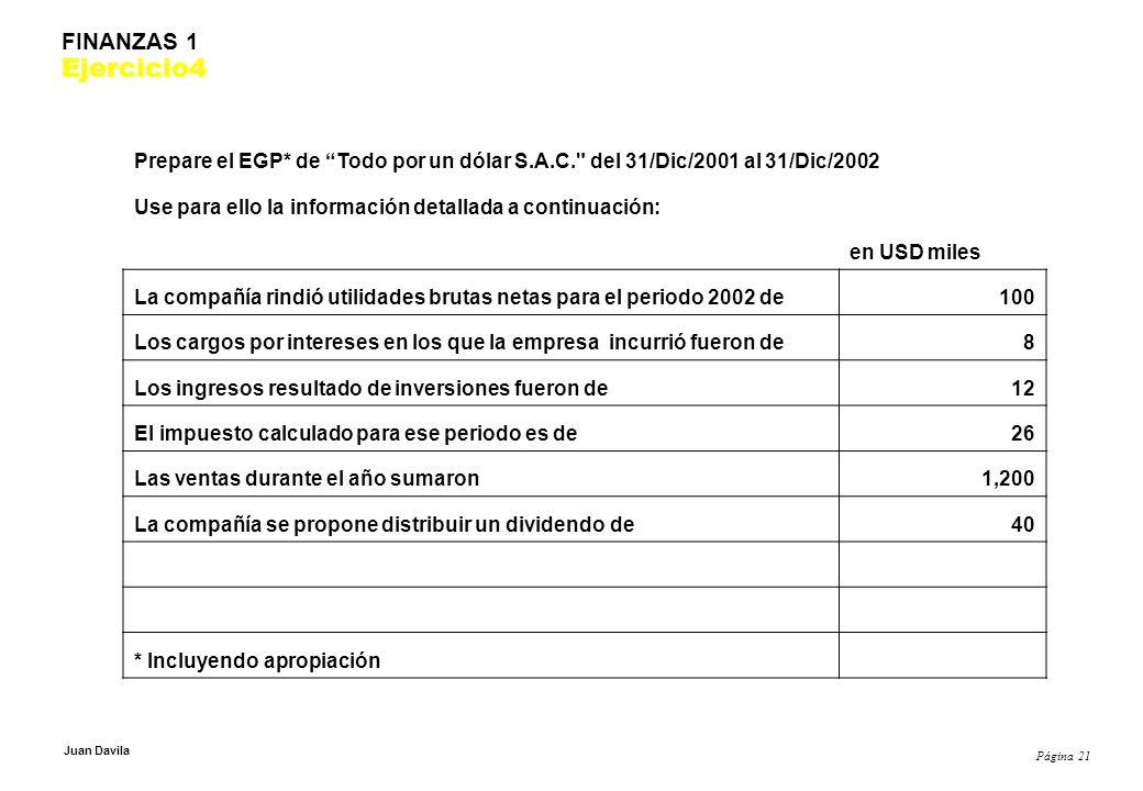 Página 21 Juan Davila FINANZAS 1 Ejercicio4 Prepare el EGP* de Todo por un dólar S.A.C. del 31/Dic/2001 al 31/Dic/2002 Use para ello la información detallada a continuación: en USD miles La compañía rindió utilidades brutas netas para el periodo 2002 de100 Los cargos por intereses en los que la empresa incurrió fueron de8 Los ingresos resultado de inversiones fueron de12 El impuesto calculado para ese periodo es de26 Las ventas durante el año sumaron1,200 La compañía se propone distribuir un dividendo de40 * Incluyendo apropiación