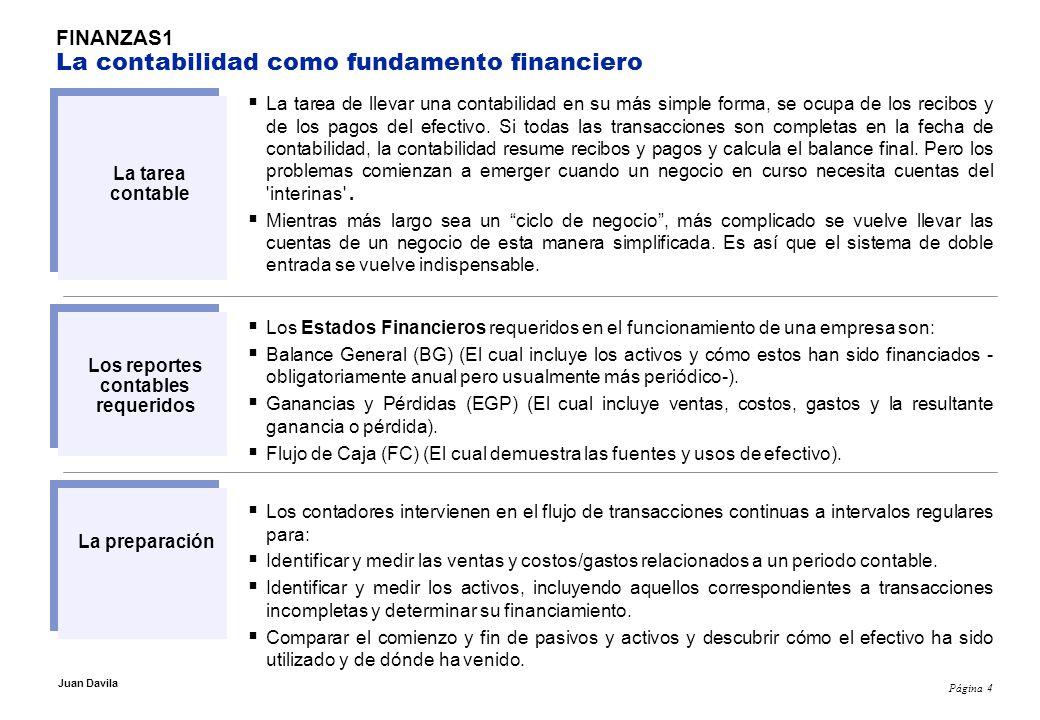 Página 5 Juan Davila FINANZAS1 Los EEFF y cuestiones de criterio La tarea contable no es simple y requiere una buena dosis de criterio.