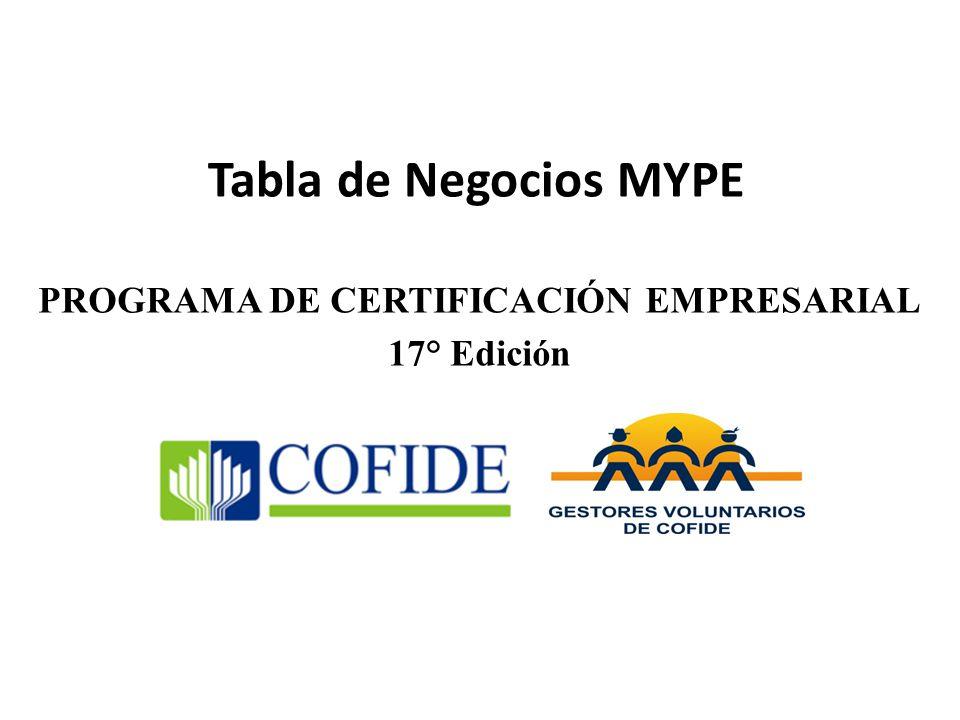 Tabla de Negocios MYPE PROGRAMA DE CERTIFICACIÓN EMPRESARIAL 17° Edición