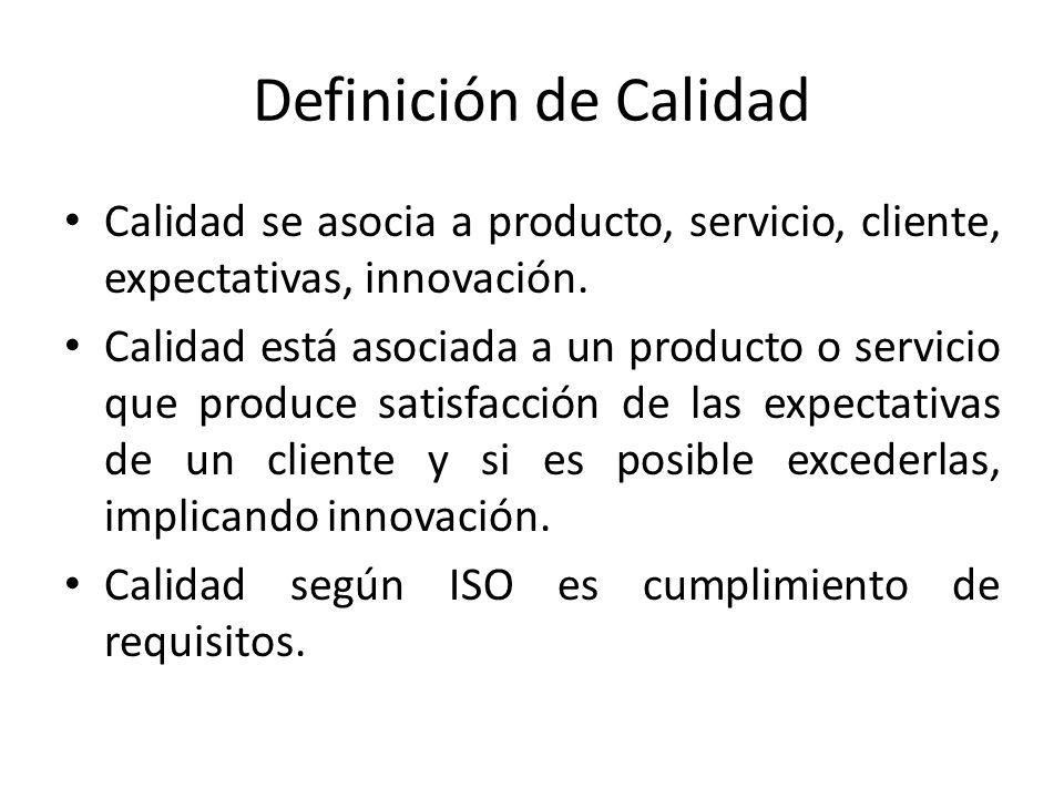 Definición de Calidad Calidad se asocia a producto, servicio, cliente, expectativas, innovación. Calidad está asociada a un producto o servicio que pr