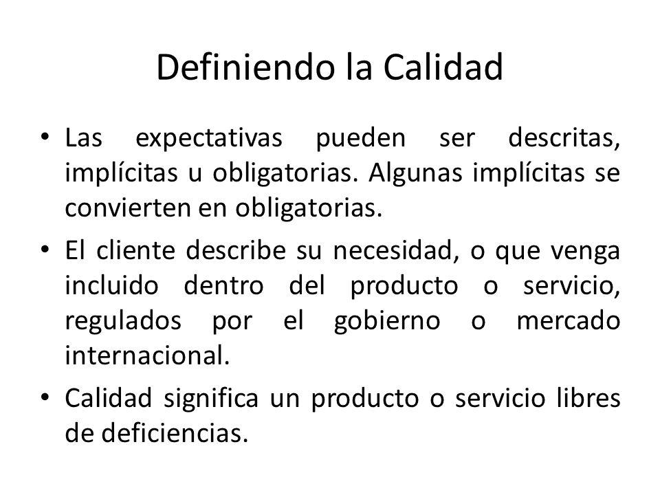 Definiendo la Calidad Las expectativas pueden ser descritas, implícitas u obligatorias. Algunas implícitas se convierten en obligatorias. El cliente d