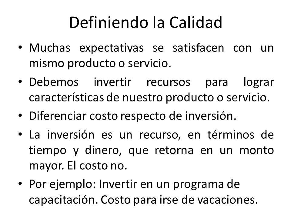 Definiendo la Calidad Muchas expectativas se satisfacen con un mismo producto o servicio. Debemos invertir recursos para lograr características de nue