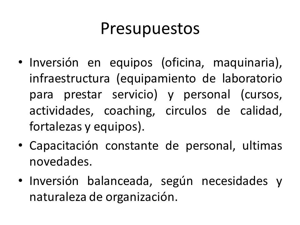 Presupuestos Inversión en equipos (oficina, maquinaria), infraestructura (equipamiento de laboratorio para prestar servicio) y personal (cursos, activ