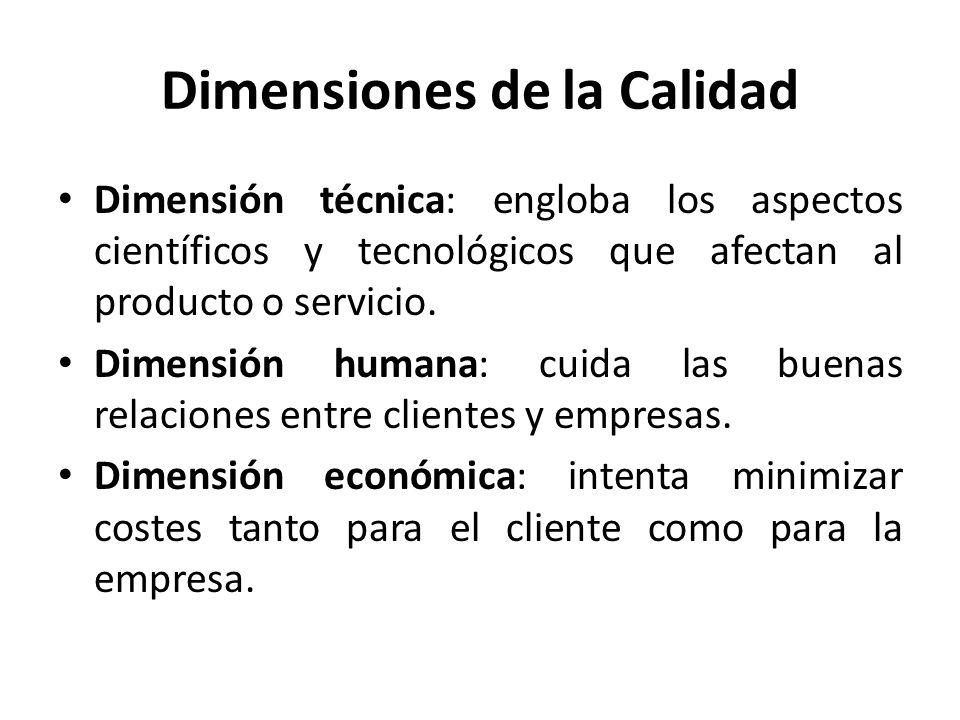 Dimensiones de la Calidad Dimensión técnica: engloba los aspectos científicos y tecnológicos que afectan al producto o servicio. Dimensión humana: cui