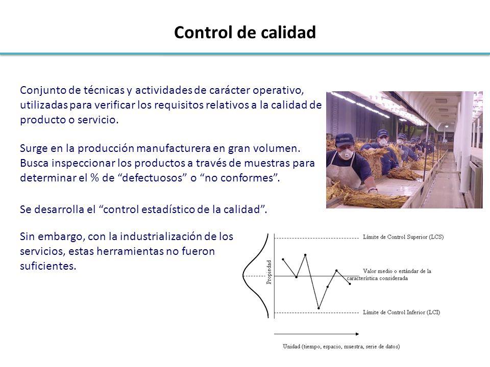 Conjunto de técnicas y actividades de carácter operativo, utilizadas para verificar los requisitos relativos a la calidad de producto o servicio. Surg