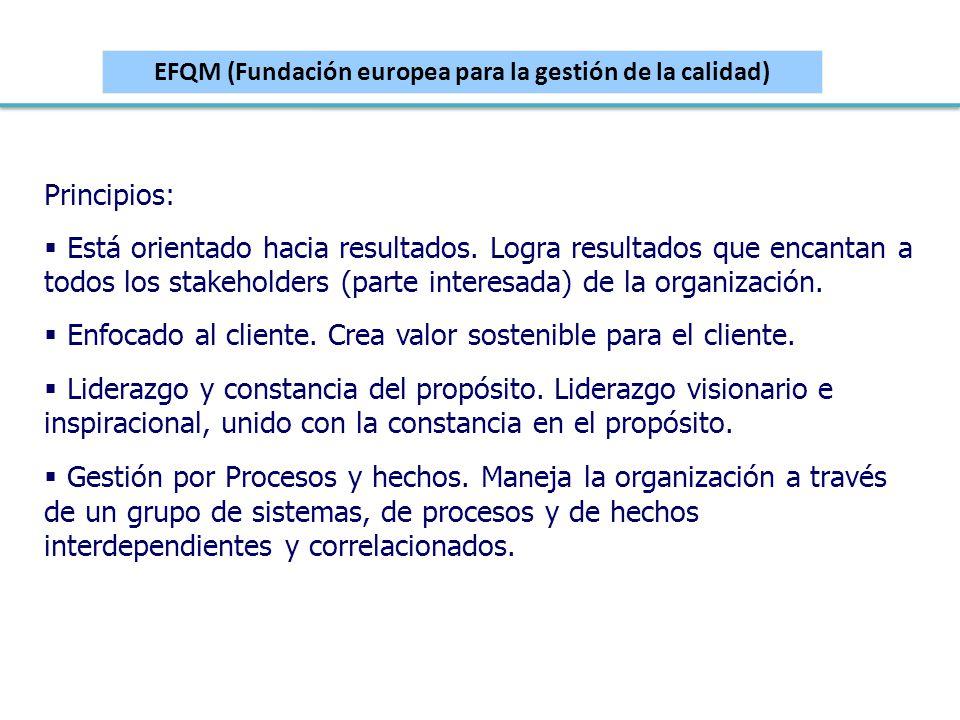 EFQM (Fundación europea para la gestión de la calidad) Principios: Está orientado hacia resultados. Logra resultados que encantan a todos los stakehol