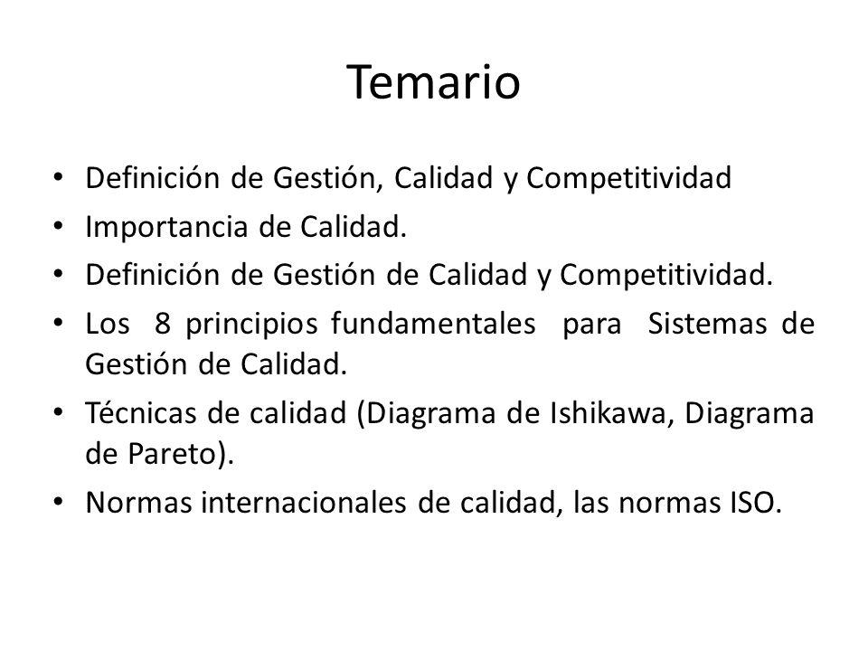 Temario Definición de Gestión, Calidad y Competitividad Importancia de Calidad. Definición de Gestión de Calidad y Competitividad. Los 8 principios fu