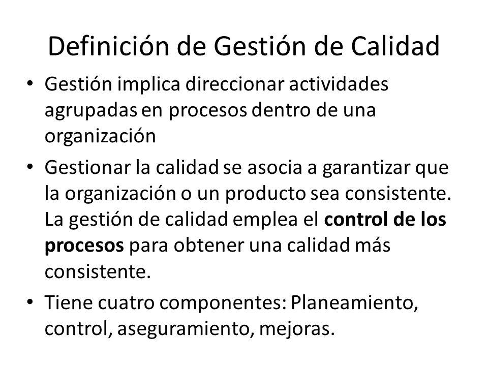 Gestión implica direccionar actividades agrupadas en procesos dentro de una organización Gestionar la calidad se asocia a garantizar que la organizaci
