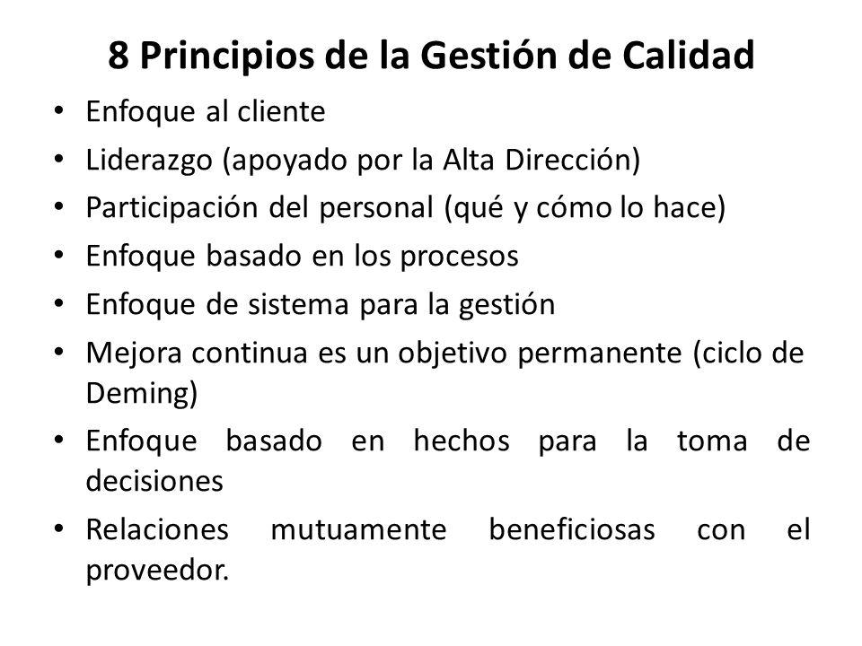 8 Principios de la Gestión de Calidad Enfoque al cliente Liderazgo (apoyado por la Alta Dirección) Participación del personal (qué y cómo lo hace) Enf