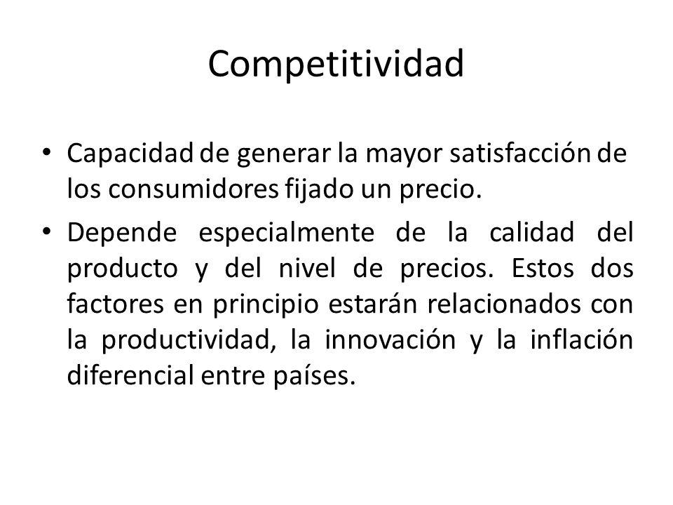 Competitividad Capacidad de generar la mayor satisfacción de los consumidores fijado un precio. Depende especialmente de la calidad del producto y del