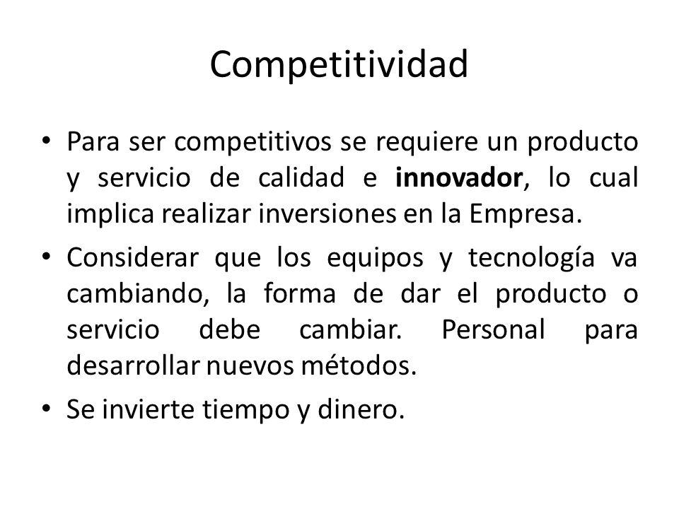 Competitividad Para ser competitivos se requiere un producto y servicio de calidad e innovador, lo cual implica realizar inversiones en la Empresa. Co