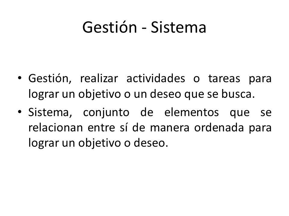 Gestión - Sistema Gestión, realizar actividades o tareas para lograr un objetivo o un deseo que se busca. Sistema, conjunto de elementos que se relaci