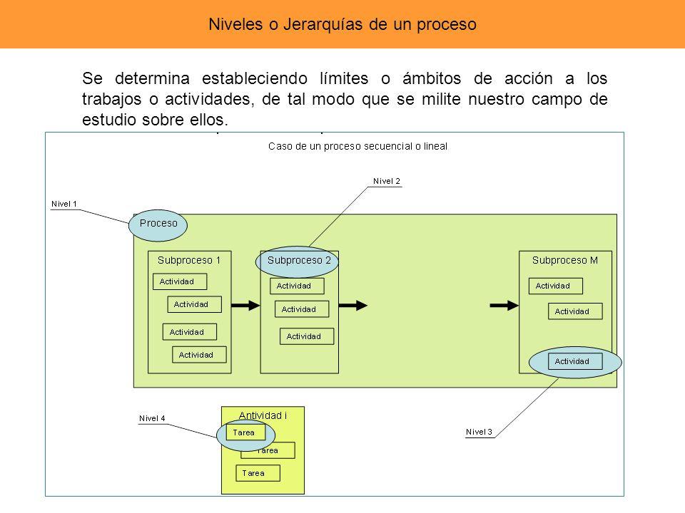 Niveles o Jerarquías de un proceso Se determina estableciendo límites o ámbitos de acción a los trabajos o actividades, de tal modo que se milite nues