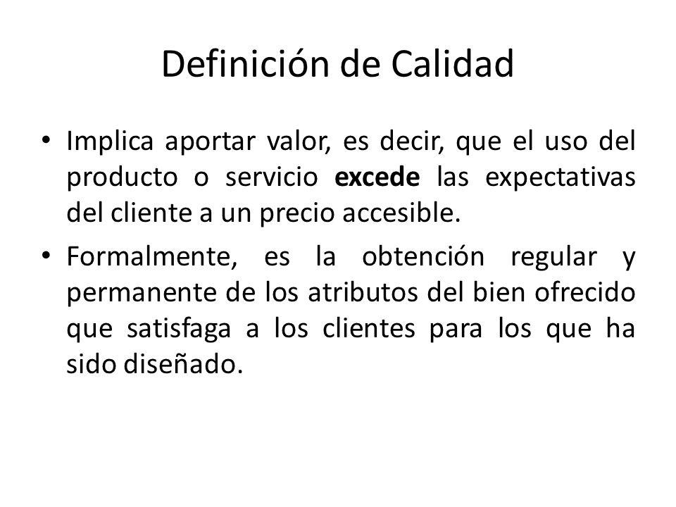 Definición de Calidad Implica aportar valor, es decir, que el uso del producto o servicio excede las expectativas del cliente a un precio accesible. F