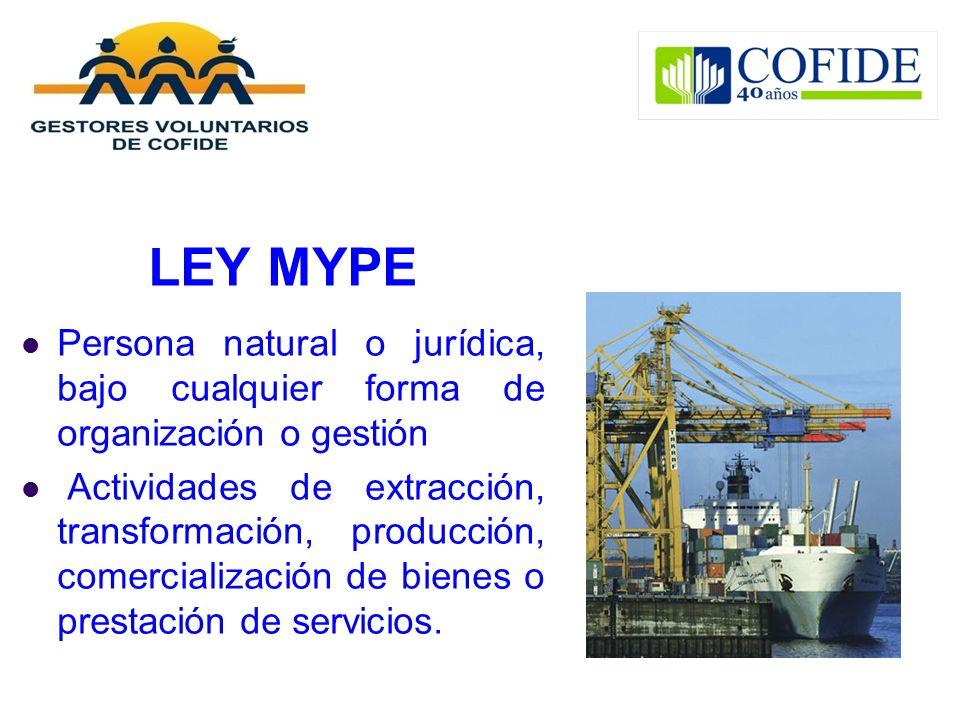 LEY MYPE Persona natural o jurídica, bajo cualquier forma de organización o gestión Actividades de extracción, transformación, producción, comercializ