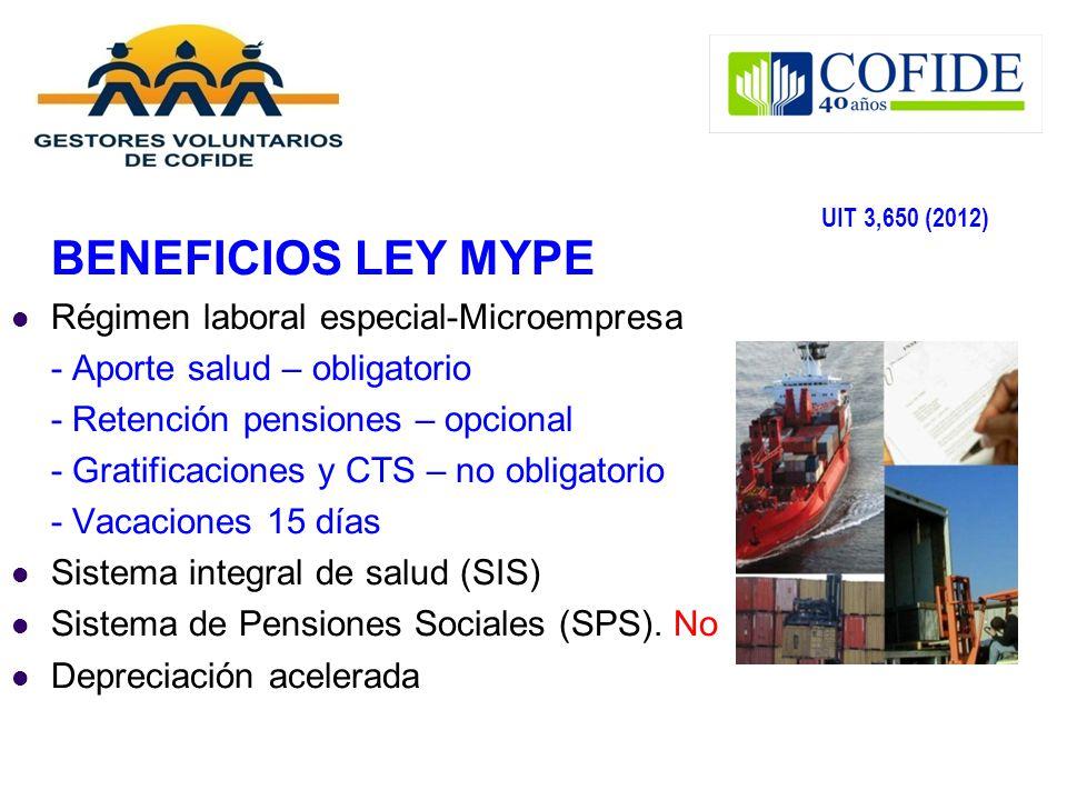 BENEFICIOS LEY MYPE Régimen laboral especial-Microempresa - Aporte salud – obligatorio - Retención pensiones – opcional - Gratificaciones y CTS – no o