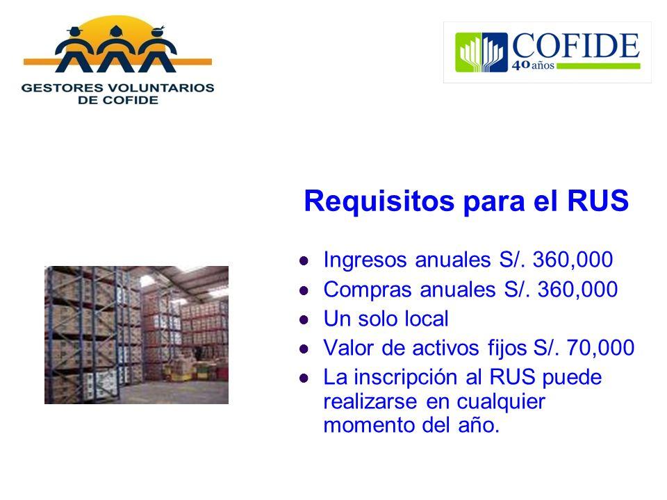 Requisitos para el RUS Ingresos anuales S/. 360,000 Compras anuales S/. 360,000 Un solo local Valor de activos fijos S/. 70,000 La inscripción al RUS