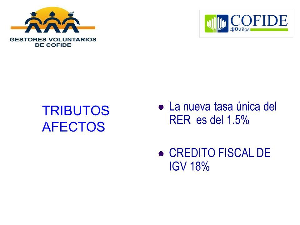 TRIBUTOS AFECTOS La nueva tasa única del RER es del 1.5% CREDITO FISCAL DE IGV 18%