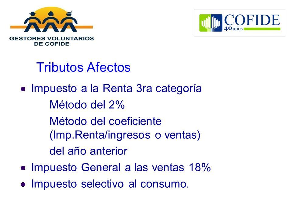 Tributos Afectos Impuesto a la Renta 3ra categoría Método del 2% Método del coeficiente (Imp.Renta/ingresos o ventas) del año anterior Impuesto Genera