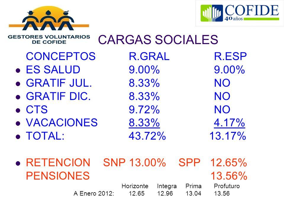 CARGAS SOCIALES CONCEPTOSR.GRALR.ESP ES SALUD9.00%9.00% GRATIF JUL.8.33%NO GRATIF DIC.8.33%NO CTS9.72%NO VACACIONES8.33%4.17% TOTAL: 43.72% 13.17% RET