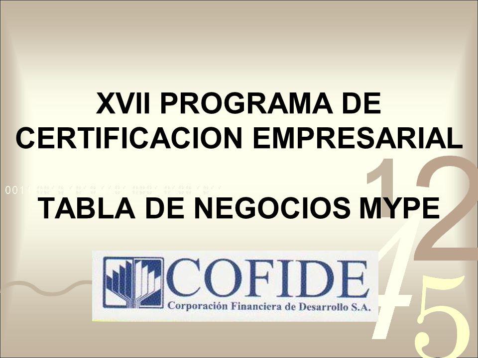 XVII PROGRAMA DE CERTIFICACION EMPRESARIAL TABLA DE NEGOCIOS MYPE