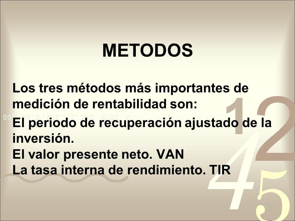 METODOS Los tres métodos más importantes de medición de rentabilidad son: El periodo de recuperación ajustado de la inversión. El valor presente neto.