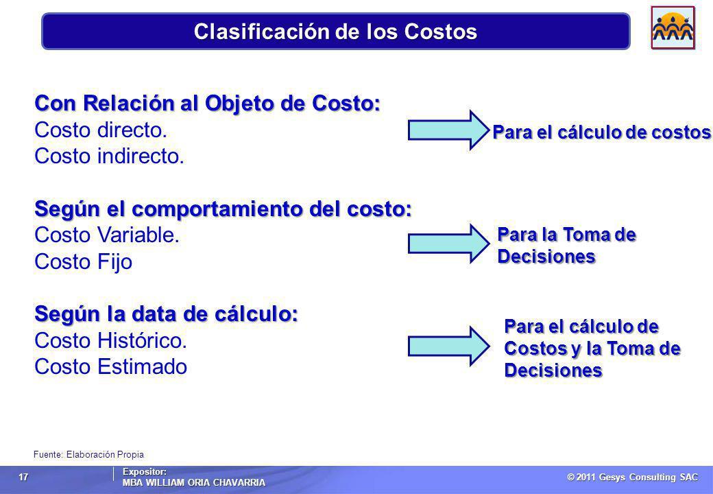 © 2011 Gesys Consulting SAC Expositor: MBA WILLIAM ORIA CHAVARRIA 17 Clasificación de los Costos Fuente: Elaboración Propia Con Relación al Objeto de Costo: Costo directo.