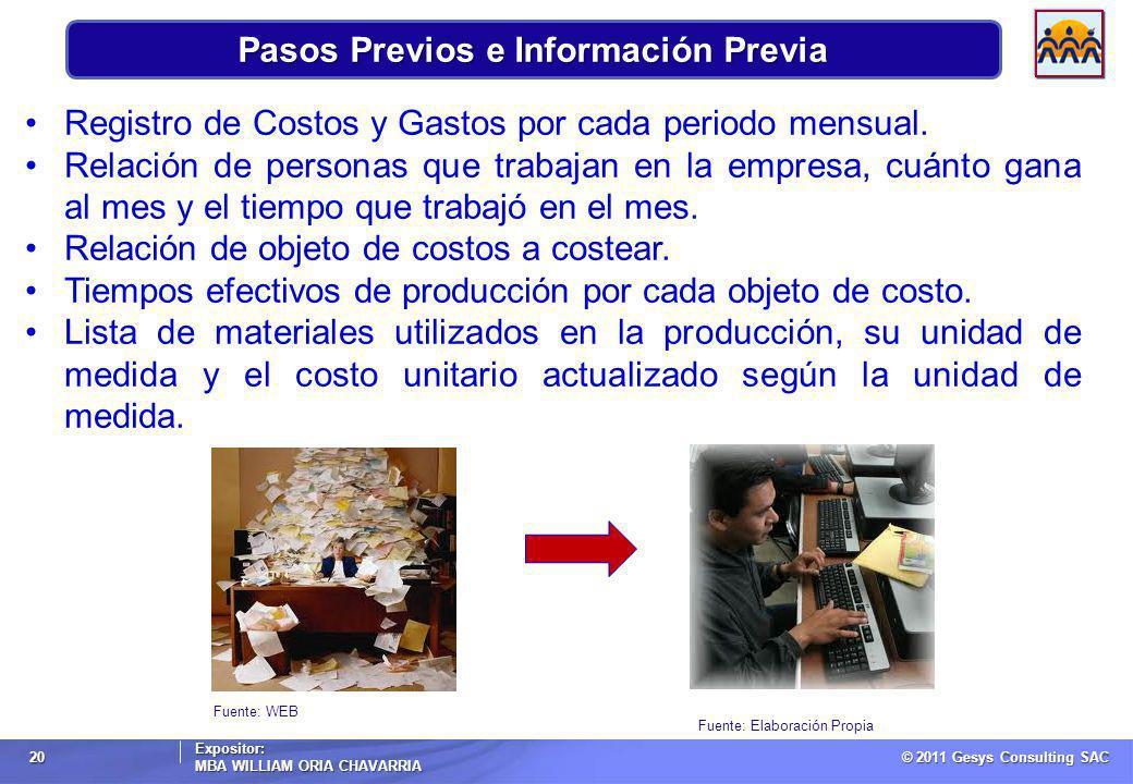 © 2011 Gesys Consulting SAC Expositor: MBA WILLIAM ORIA CHAVARRIA 20 Fuente: WEB Pasos Previos e Información Previa Registro de Costos y Gastos por cada periodo mensual.