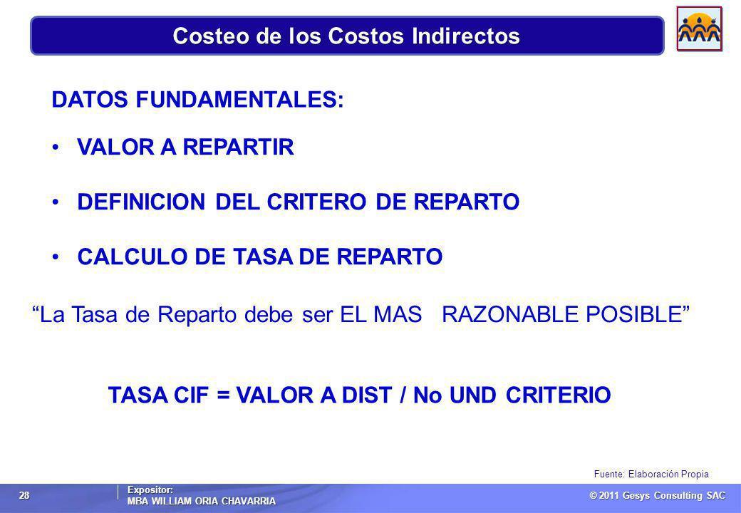 © 2011 Gesys Consulting SAC Expositor: MBA WILLIAM ORIA CHAVARRIA 28 Fuente: Elaboración Propia Costeo de los Costos Indirectos DATOS FUNDAMENTALES: VALOR A REPARTIR DEFINICION DEL CRITERO DE REPARTO CALCULO DE TASA DE REPARTO La Tasa de Reparto debe ser EL MAS RAZONABLE POSIBLE TASA CIF = VALOR A DIST / No UND CRITERIO