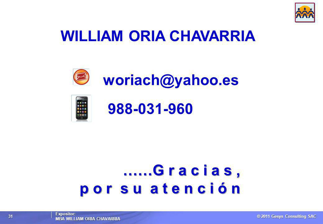 © 2011 Gesys Consulting SAC Expositor: MBA WILLIAM ORIA CHAVARRIA 31 ……G r a c i a s, p o r s u a t e n c i ó n WILLIAM ORIA CHAVARRIA woriach@yahoo.e