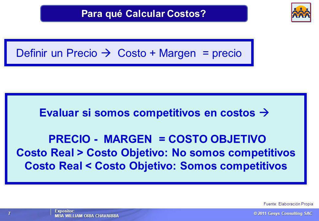 © 2011 Gesys Consulting SAC Expositor: MBA WILLIAM ORIA CHAVARRIA 7 Para qué Calcular Costos.