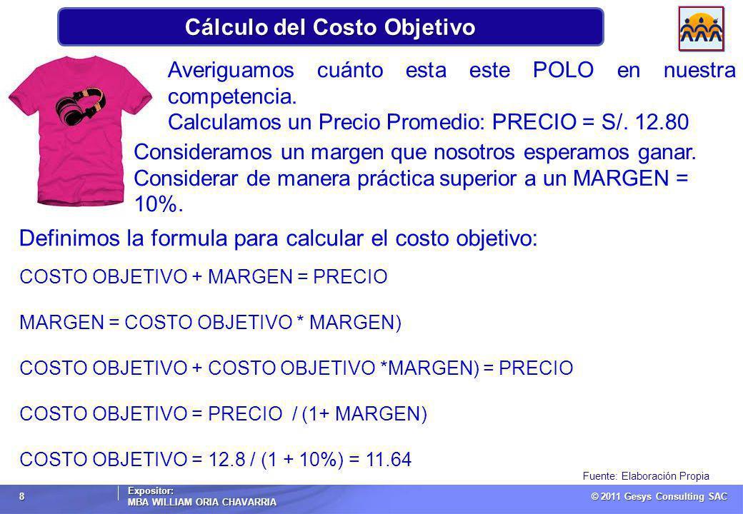 © 2011 Gesys Consulting SAC Expositor: MBA WILLIAM ORIA CHAVARRIA 8 Cálculo del Costo Objetivo Fuente: Elaboración Propia Averiguamos cuánto esta este POLO en nuestra competencia.