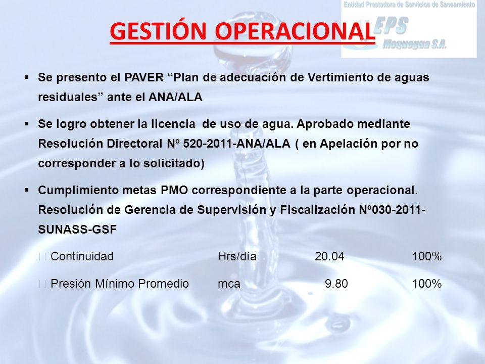 Se presento el PAVER Plan de adecuación de Vertimiento de aguas residuales ante el ANA/ALA Se logro obtener la licencia de uso de agua.
