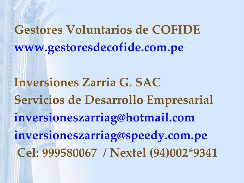 Gestores Voluntarios de COFIDE www.gestoresdecofide.com.pe Inversiones Zarria G.