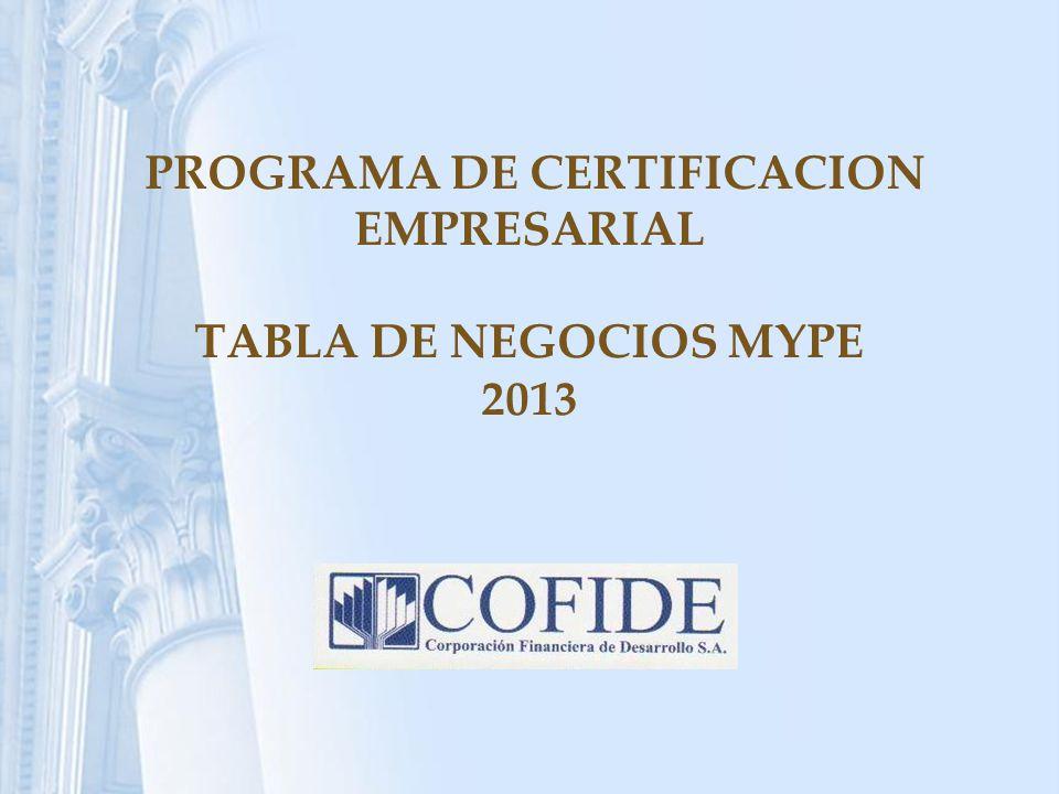 PROGRAMA DE CERTIFICACION EMPRESARIAL TABLA DE NEGOCIOS MYPE 2013