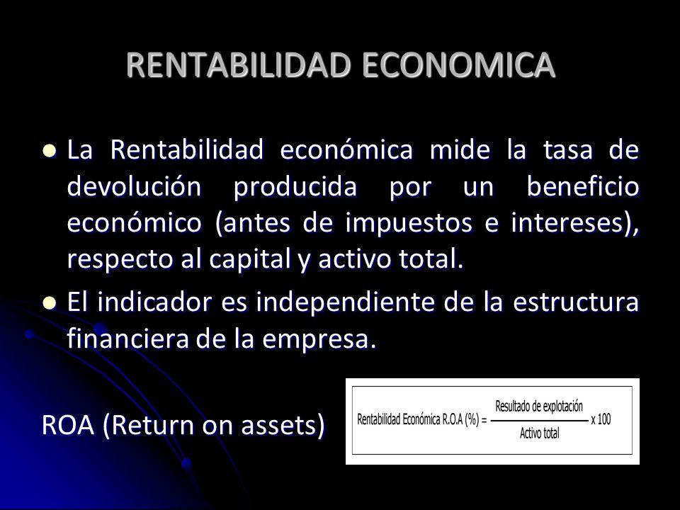 RENTABILIDAD ECONOMICA La Rentabilidad económica mide la tasa de devolución producida por un beneficio económico (antes de impuestos e intereses), res