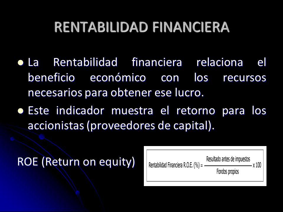 RENTABILIDAD FINANCIERA La Rentabilidad financiera relaciona el beneficio económico con los recursos necesarios para obtener ese lucro. La Rentabilida
